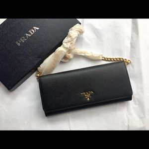 NWOT AUTH Prada Saffiano Leather Wallet with Chain